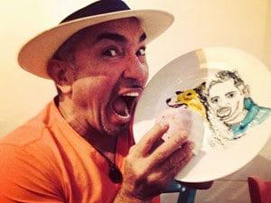 Cesar Millan bites plate of him