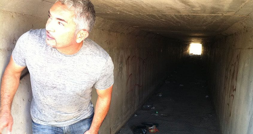Cesar Millan in dark tunnel