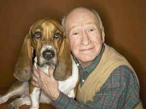 Senior Man and Basset Hound