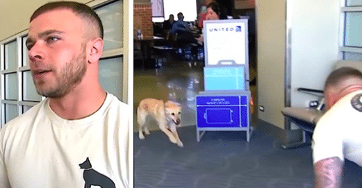 Soldier Nervously Waits For The Dog He Served With To Get Off The Plane